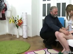 sveta kneels to receive her older mans cum all