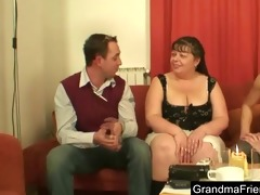 plump mature is double fucked and cumfaced