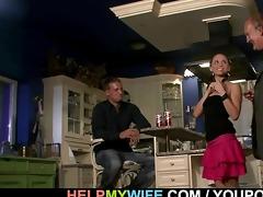 cuckolding wife opens legs for a stranger