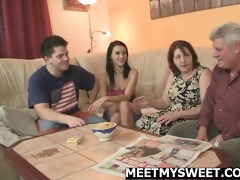 meeting her bf parents ends up three-some orgy