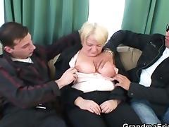 threesome fuckfest with drunk granny