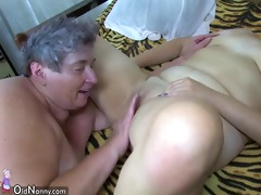 oldnanny group sex, corpulent granny and fat
