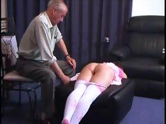 grandpa punishes a girl