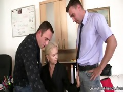 she pleases two cocks at job interview