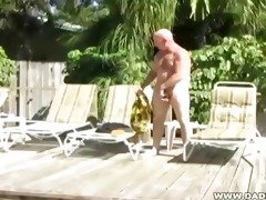 dad chuck plays with himself and trio sun lotion
