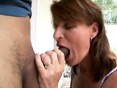 old brunette seduces younger dude!