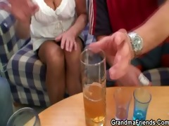 blonde grandma swallows two large dicks