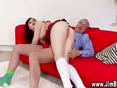 older guy spanks wicked schoolgirl
