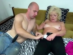 old chubby granny in the sofa has sex with