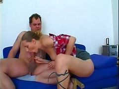 slutty hottie gives horny daddy trio head