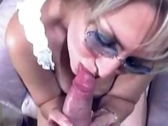 granny in glasses get blowjob