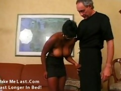 excited black milf has cum discharged all over
