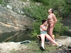 superb playgirl rides grandpa\s cock in nature