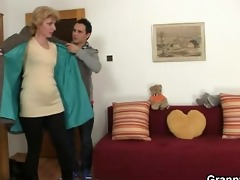 a guy picks up old blond and copulates her