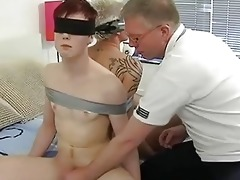 aged homo daddy ties two randy twinks and engulf