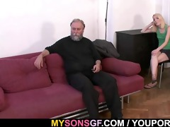 old dad forces his sons gf suck his jock